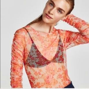 Zara Gorgeous Rosy Floral Mesh Organza Zara Top